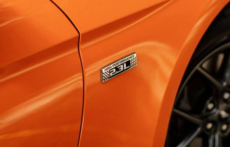 orange Ford Mustang