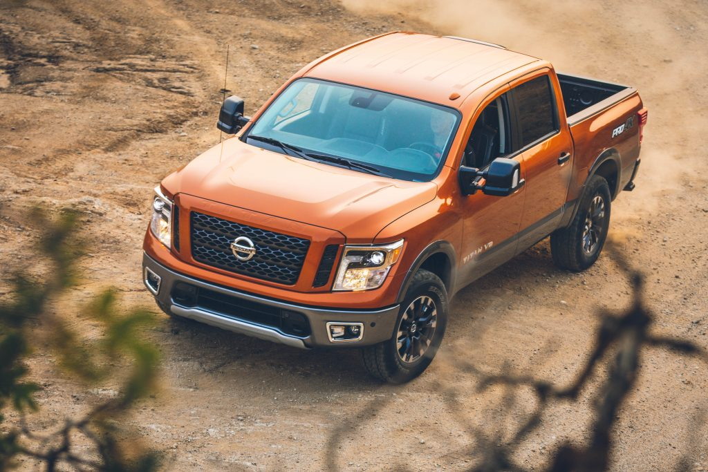 2019 Nissan TITAN Pro4X parked on a rock