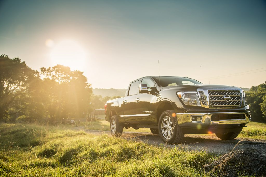 2019 Nissan Titan XD driving on country road