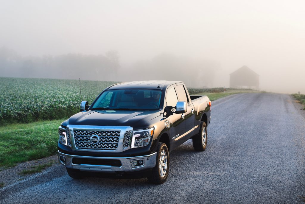 2019 Nissan Titan XD driving through fog