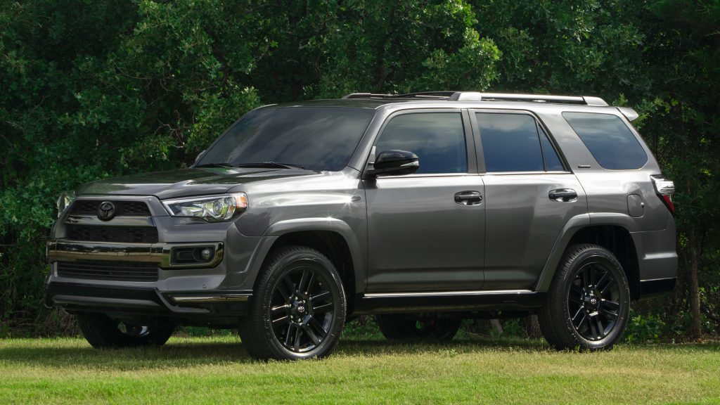 A 2019 4Runner Nightshade Edition with distinguished dark finishings.