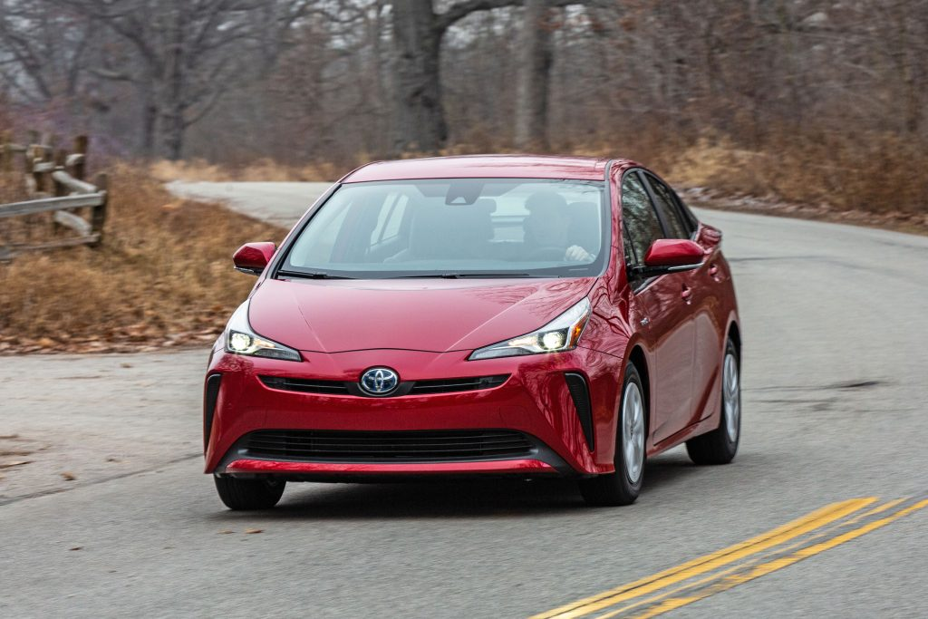 Front view of a red 2019 Toyota Prius.