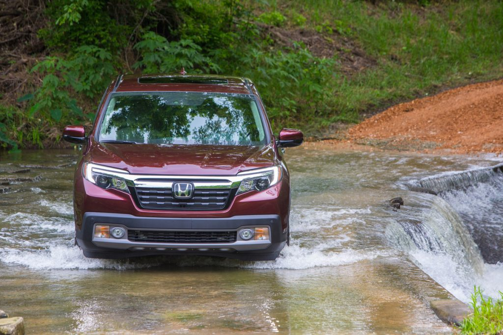 2019 Honda Ridgeline off-roading through stream