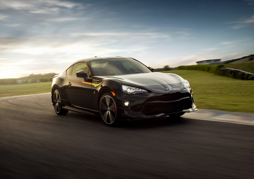 2020 Toyota 86 driving on a race track.