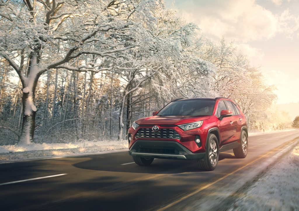 2019 Toyota RAV4 driving on a winter morning