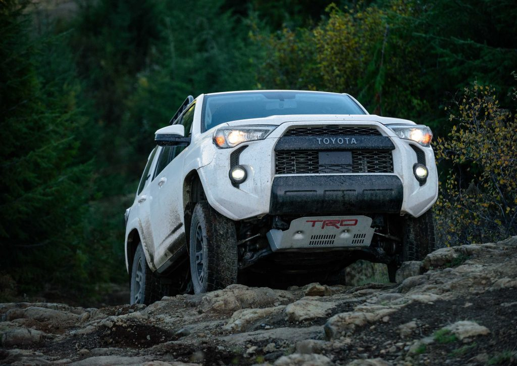 2020 Toyota 4Runner TRD Pro crawling over a rock
