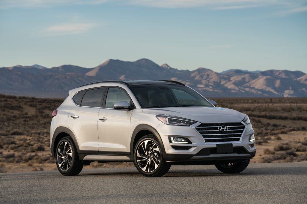 2019 Hyundai Tucson parked in front of mountain view