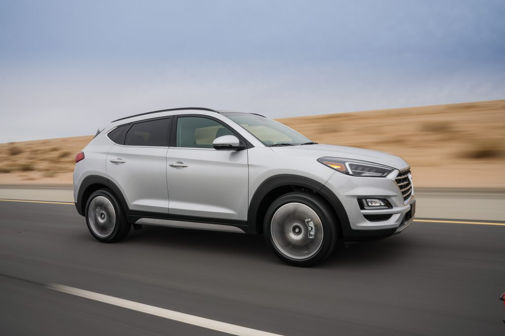 A white 2019 Hyundai Tucson on the track.