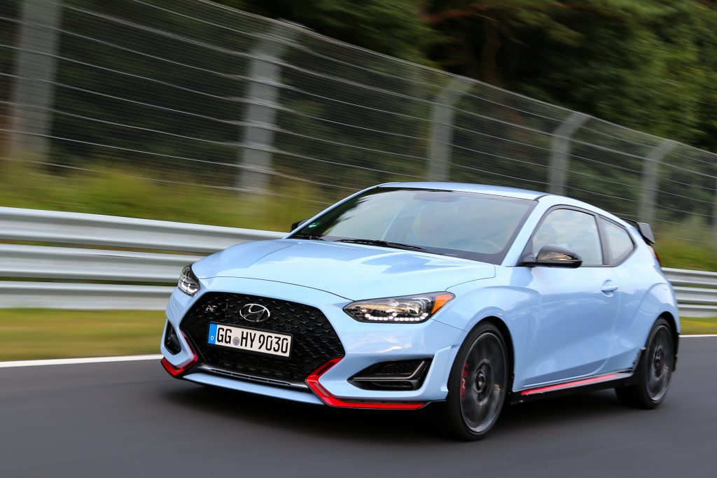 2020 Hyundai Veloster N speeding on pavement