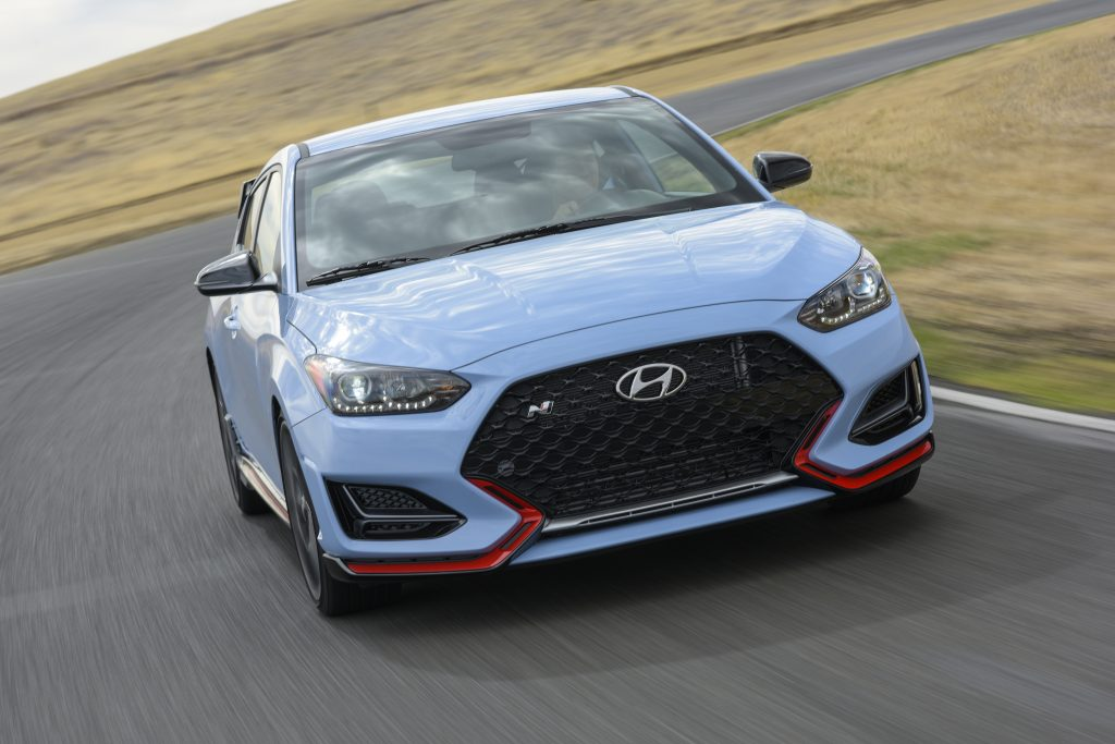 2019 Hyundai Veloster N driving on track