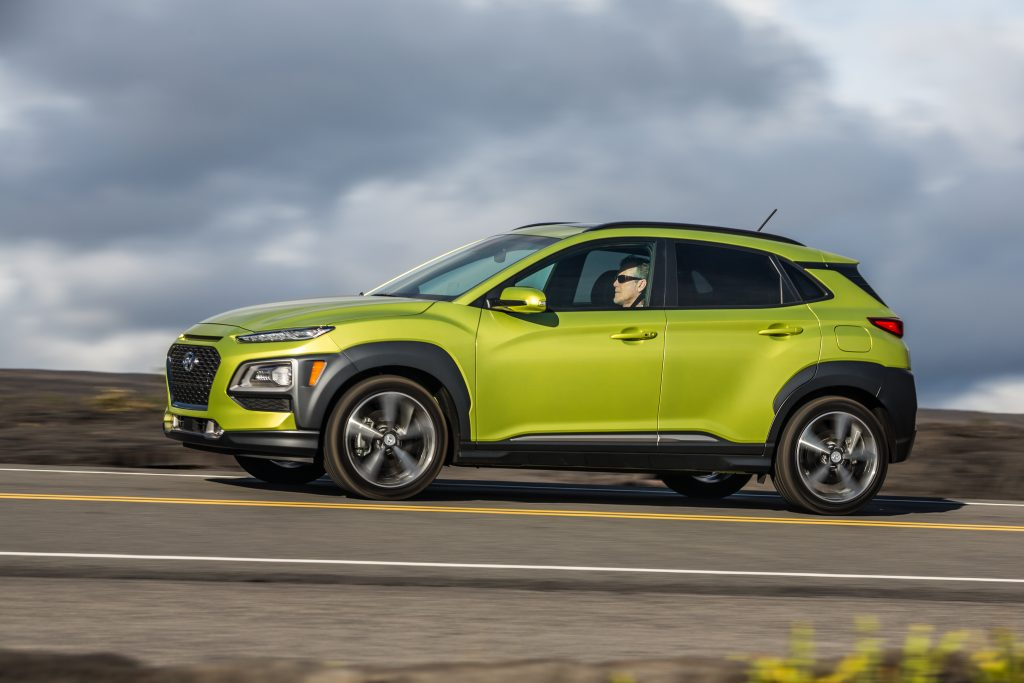 2019 Hyundai Kona driving in the country