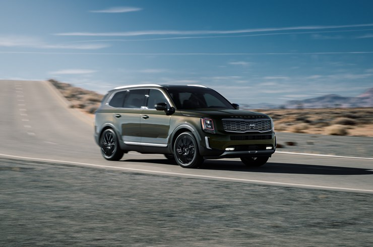 2020 Kia Telluride driving down the road
