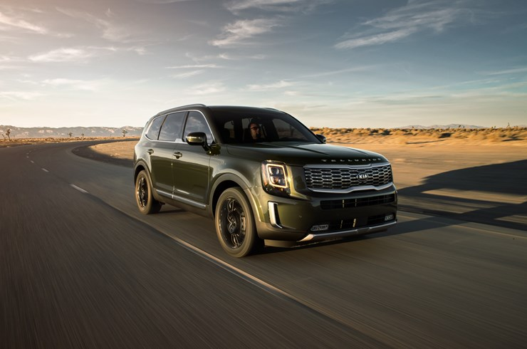 2020 Kia Telluride driving down paved road
