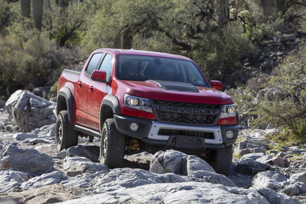 2019 Chevrolet Colorado ZR2 Bison off-roading over rocks
