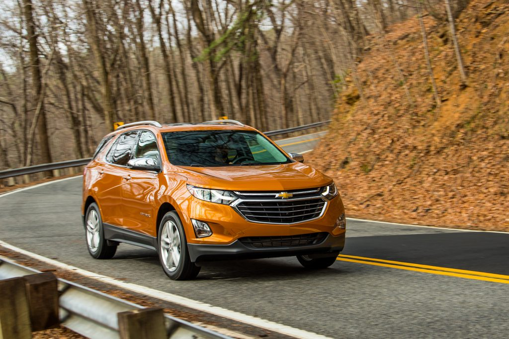 2019 Chevy Equinox crossover SUV driving down country road