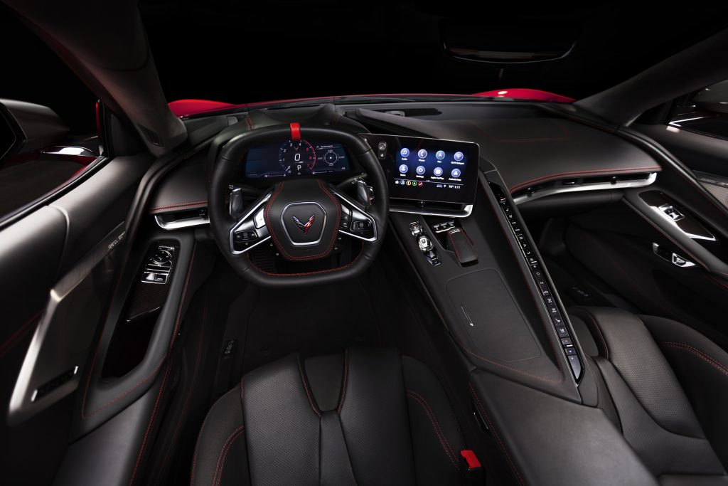 An panoramic shot of the 2020 Chevrolet Corvette interior.