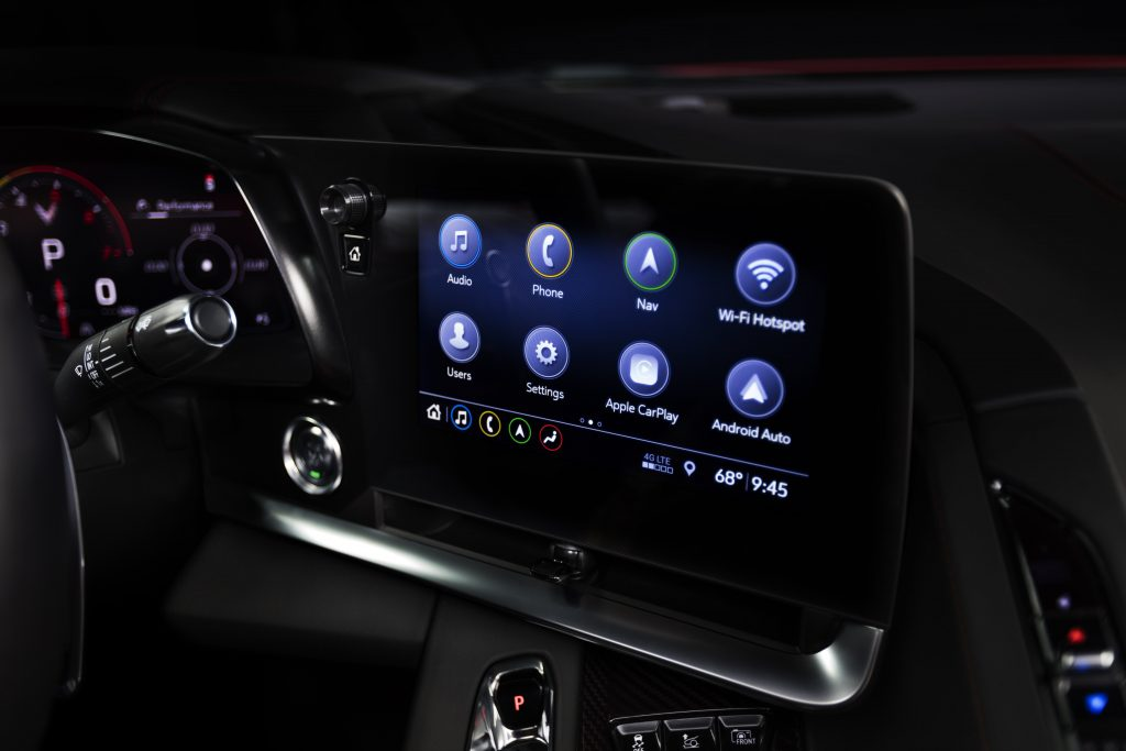 The infotainment screen in a 2020 Chevrolet Corvette.