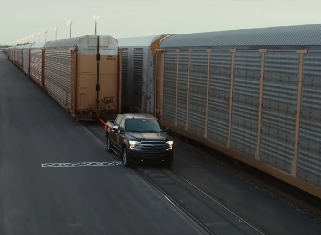 Ford F-150 EV hauling a train