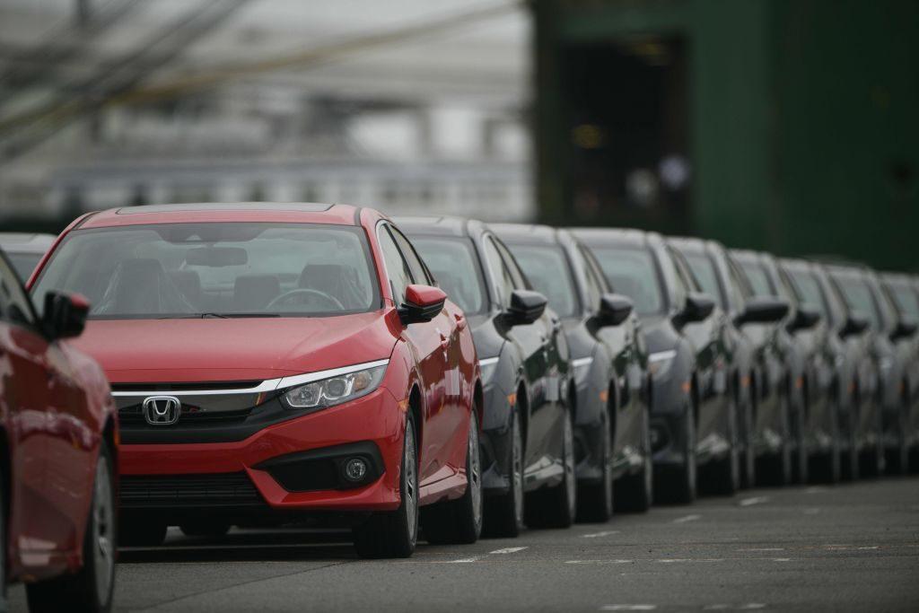 A lineup of Honda Civic models in Japan.