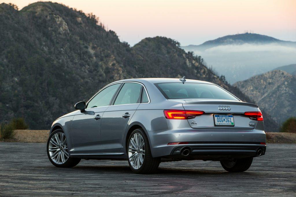 A rear-side view of the 2017 Audi A4.
