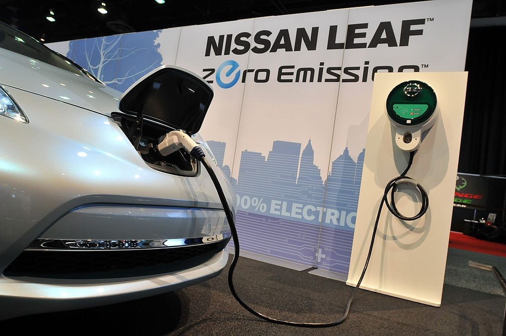 Nissan Leaf charging on stage