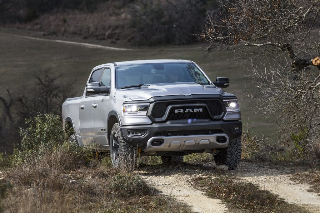 2019 Ram 1500 Rebel driving on dirt road