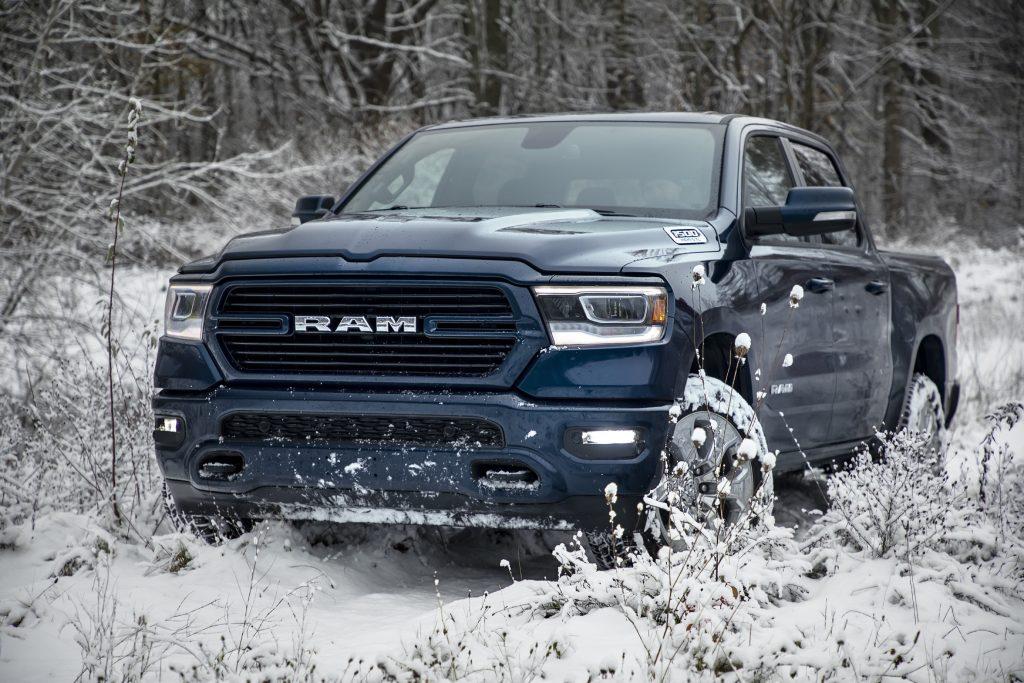 2019 Ram 1500 North Edition driving through snow