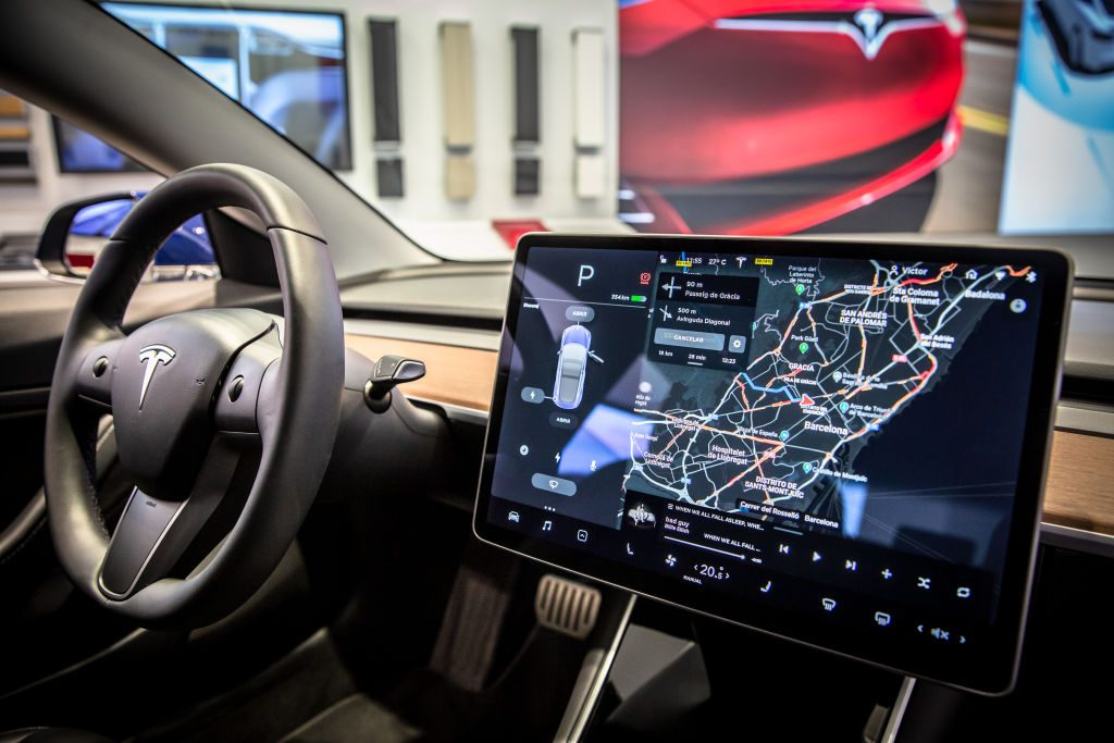 Touch screen navigation system in a Tesla Model 3