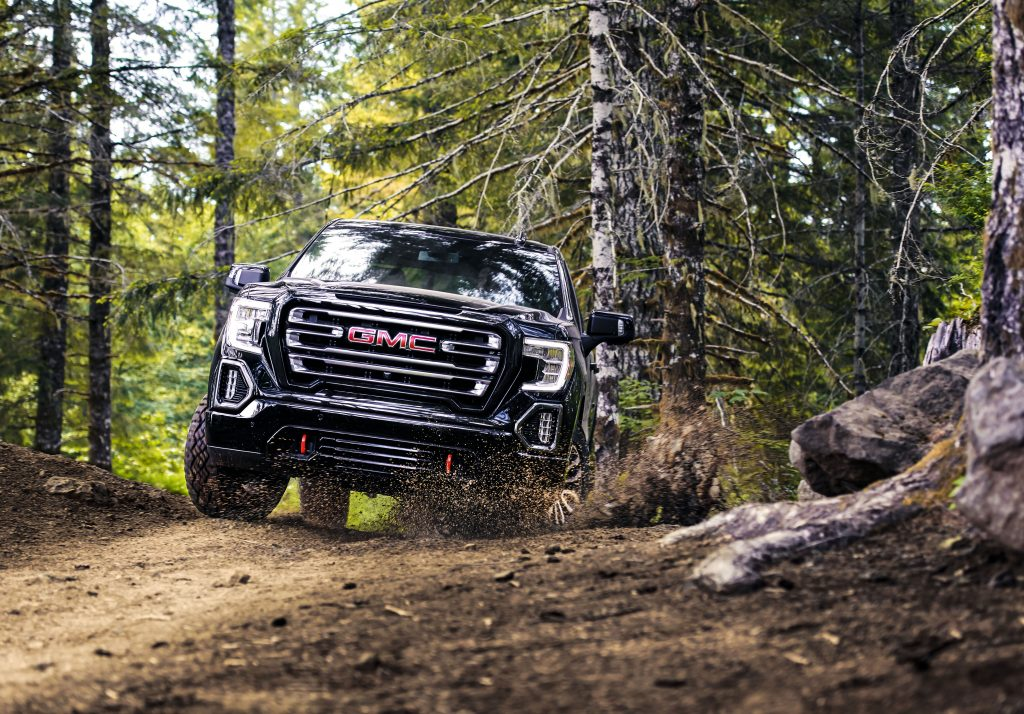 2020 GMC Sierra AT4 off-roading in the woods