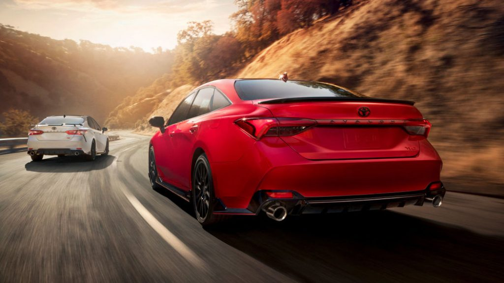 the red rear of an all new 2020 Toyota Camry with the sporty TRD package