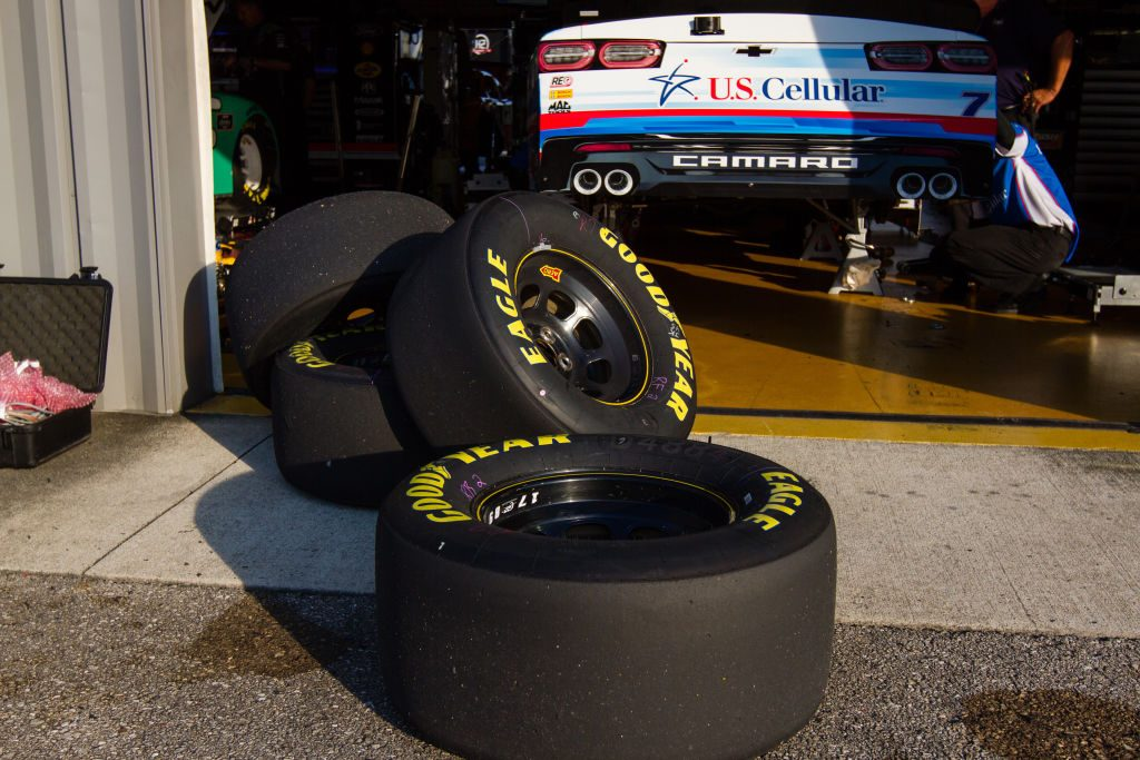 NASCAR tires piled up