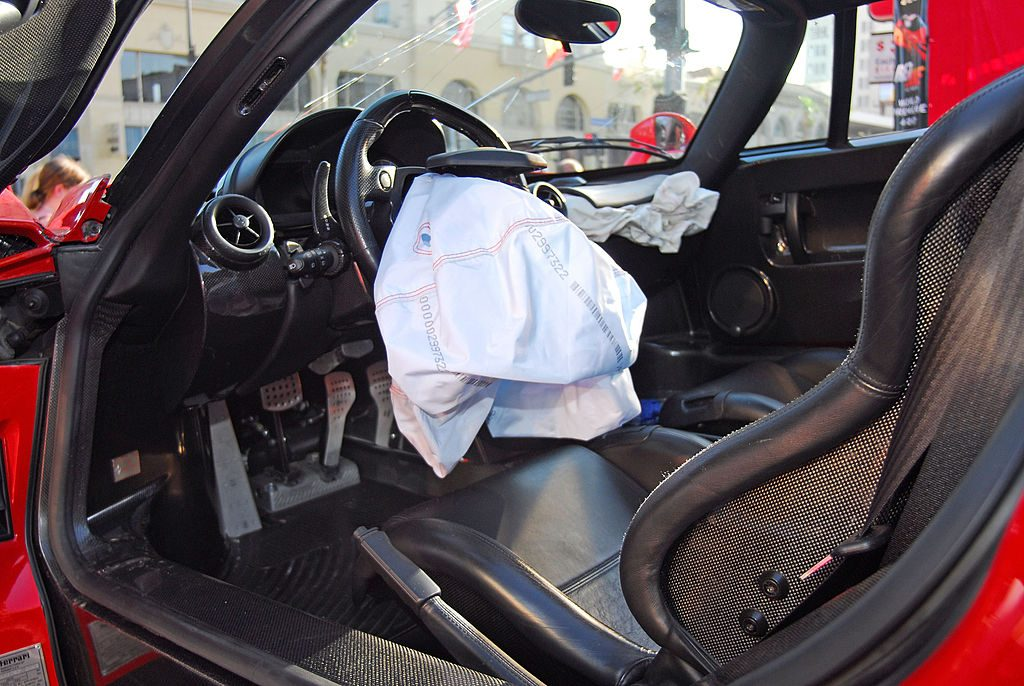 Car totaled with a deployed airbag