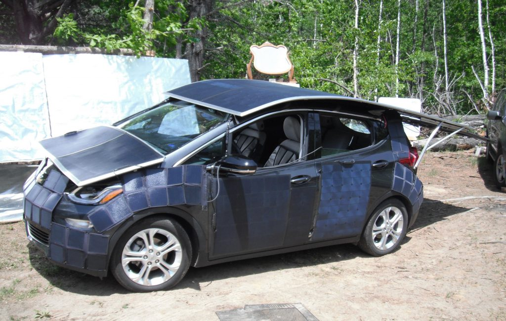 Chevrolet Bolt completely covered in solar panels