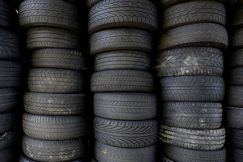 Stacks of old, used tires