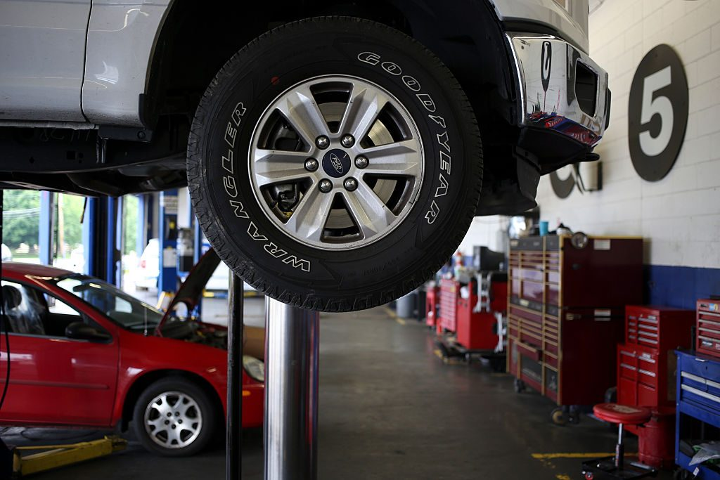 View of vehicles getting maintenance at a mechanic shop