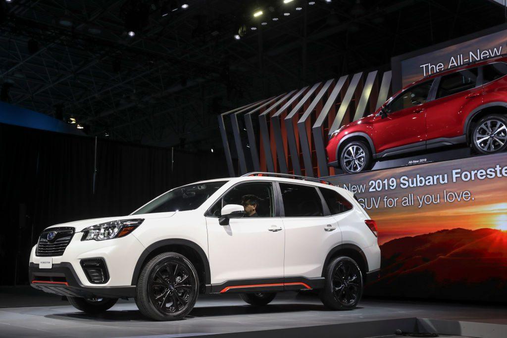 A 2019 Subaru Forester crossover SUV