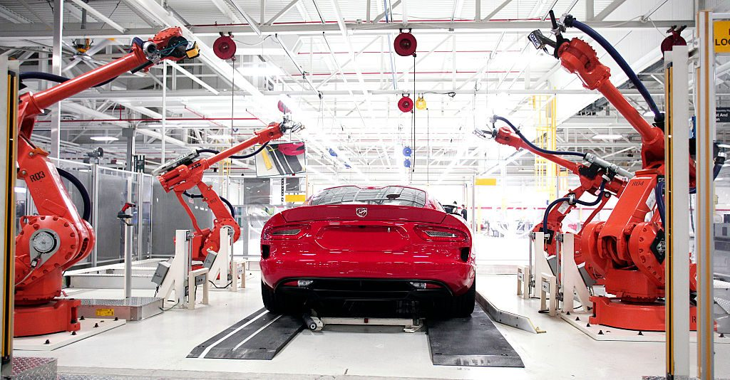 A Dodge Viper goes through the Viper Assembly Plant in Detroit, Michigan.