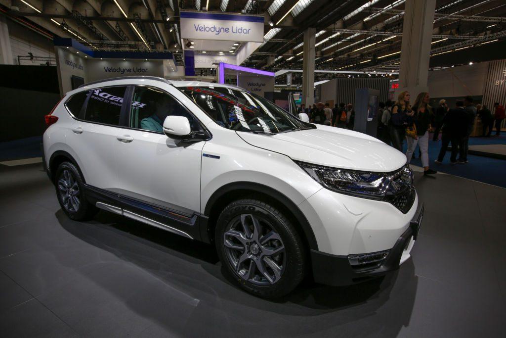 The Japanese car manufacturer Honda displays the Honda CR-V Hybrid compact crossover SUV
