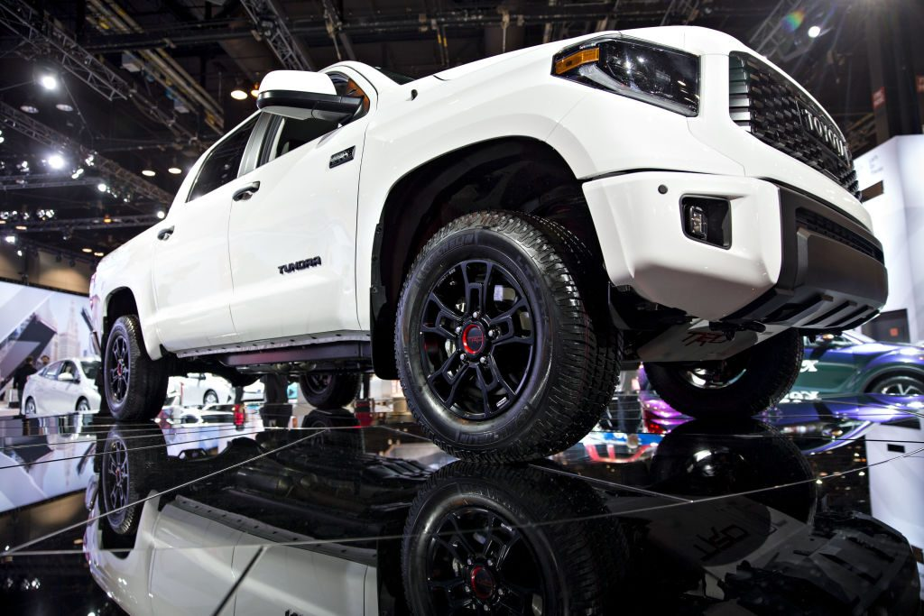 Toyota Tundra TRD Pro pickup truck on display at auto show