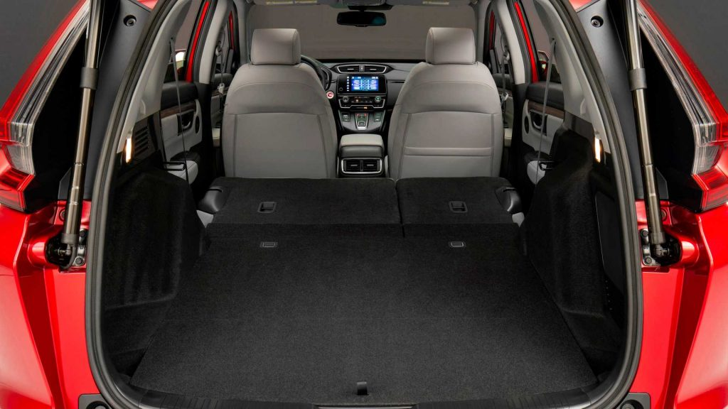 Honda CR-V Interior with the back row seats folded down.