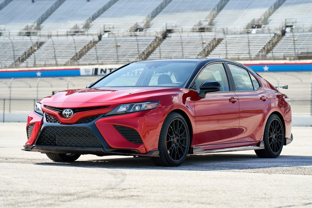 red Toyota Camry trd on the track