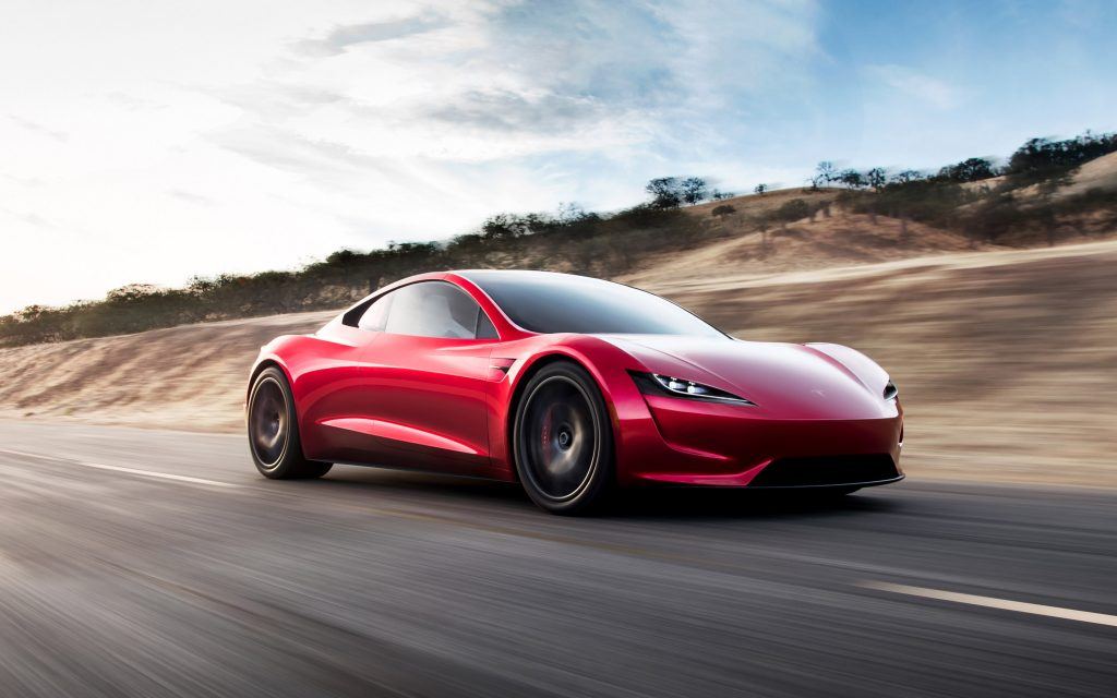 A red Tesla Roadster prototype