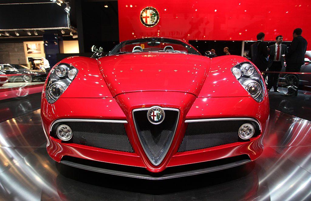 The Paris Auto Show hosts a 2010 Alfa Romeo 8C Spider Roadster
