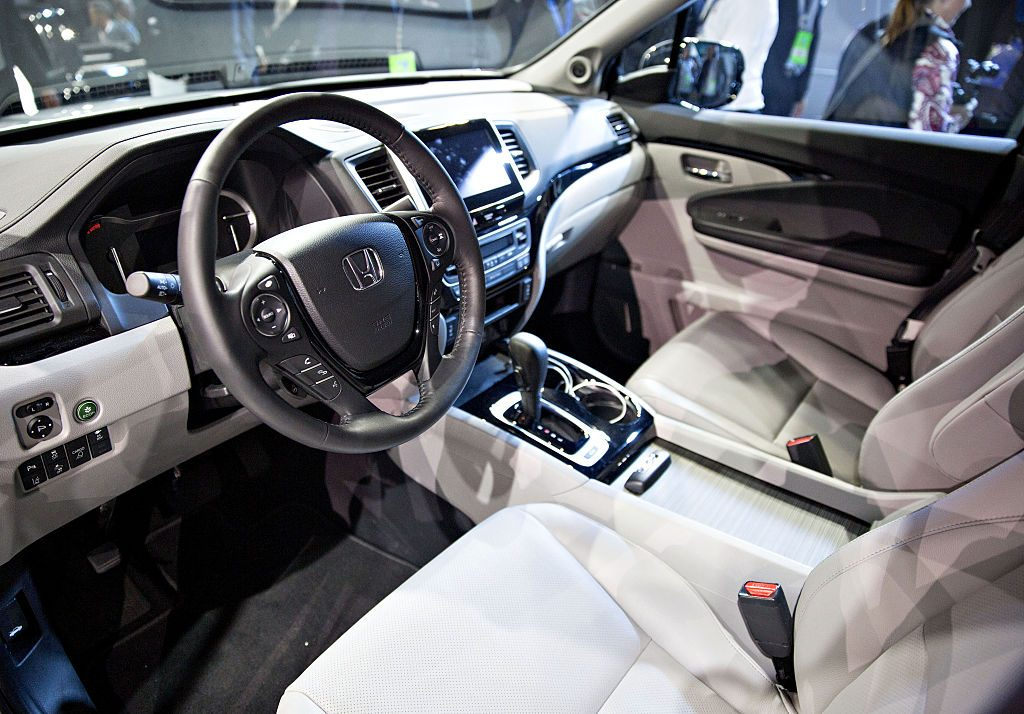 The interior of a 2017 Honda Ridgeline pickup truck