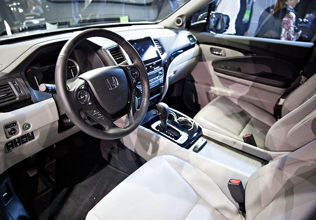 The interior of a 2017 Honda Ridgeline pickup truck
