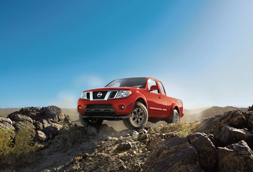 The 2018 Nissan Frontier on a rocky trail