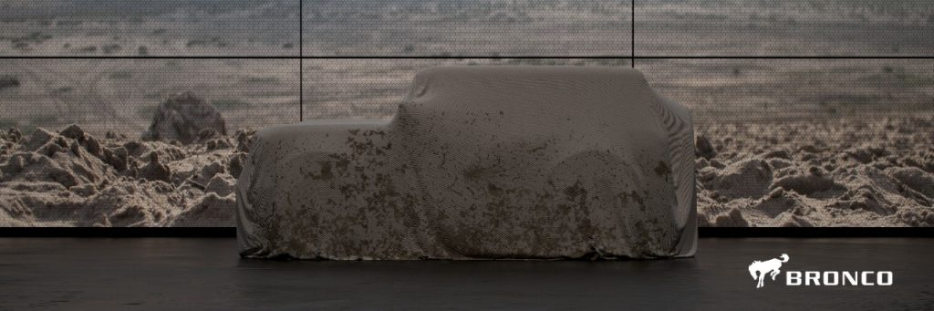 A sheet covers the 2020 Ford Bronco