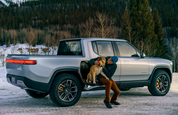 2020 Rivian R1T parked at camping site