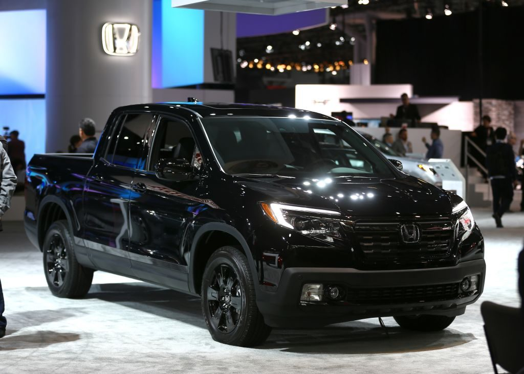 Honda's most popular truck, the Ridgeline, on display at an auto show.