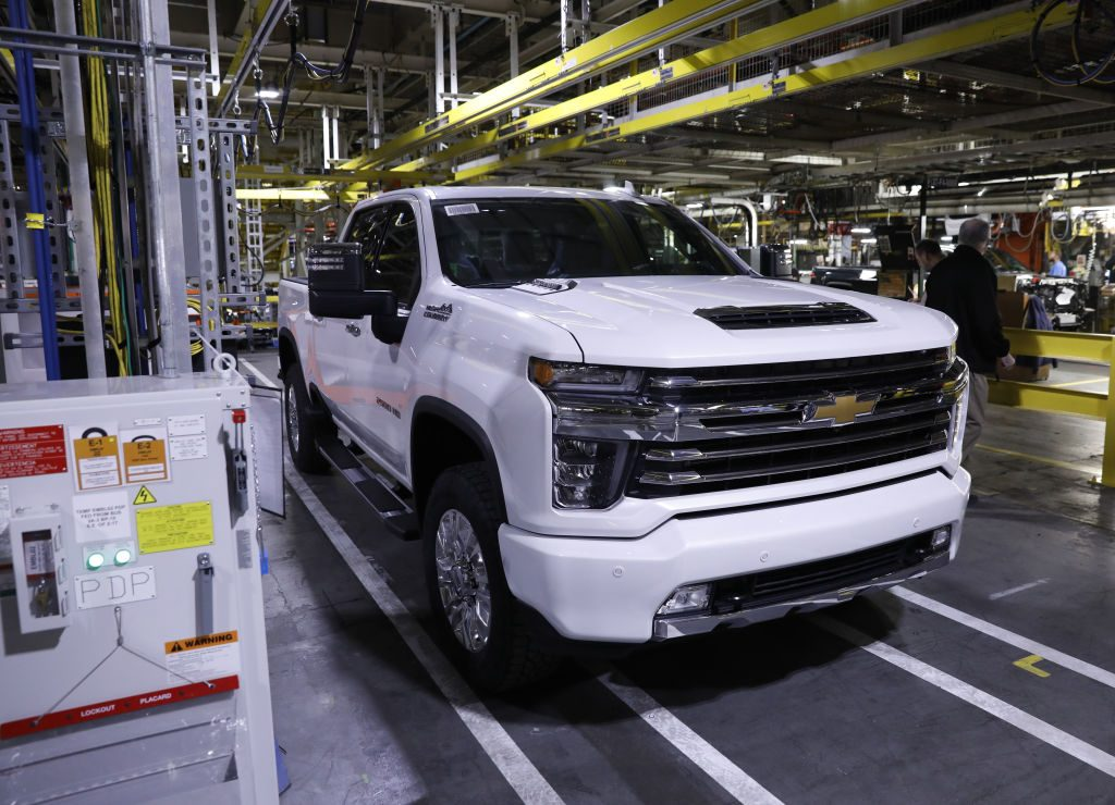 A Chevy Silverado High Country on the assembly line.